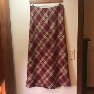Laura Ashley long plaid wool skirt